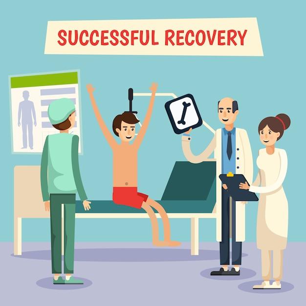Cartaz liso paciente dos doutores de hospital Vetor grátis