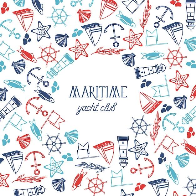 Cartaz náutico vintage com texto e elementos marinhos desenhados à mão em branco Vetor grátis