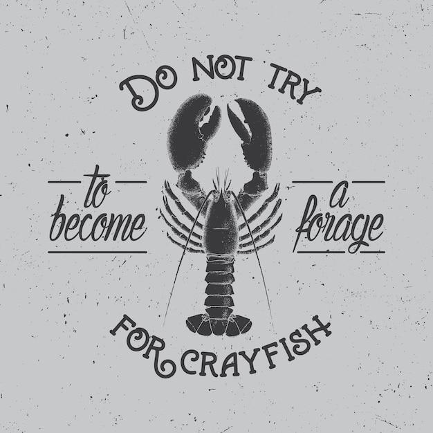 Cartaz original do spirit com imagem de lagostins na ilustração cinza Vetor grátis