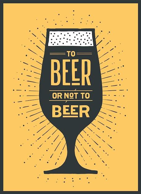 Cartaz ou banner com o texto to beer or not to beer e sunburst de raios de sol vintage. gráfico colorido para impressão, web ou publicidade. cartaz para bar, pub, restaurante, tema de cerveja. ilustração Vetor Premium