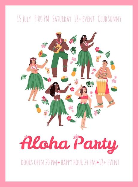 Cartaz ou cartaz de convite para a festa aloha Vetor Premium