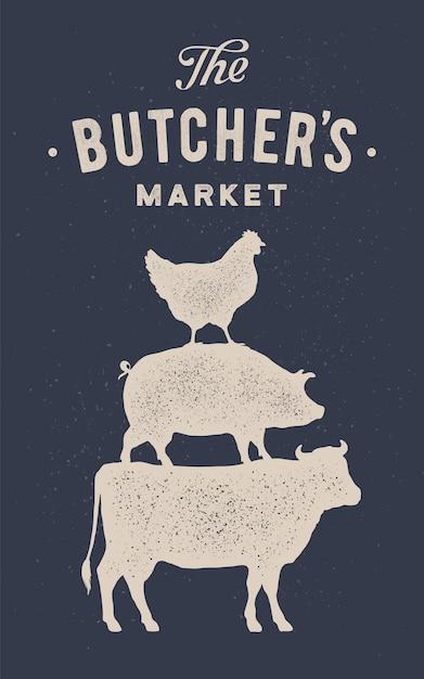 Cartaz para açougue. vaca, porco e galinha ficam um sobre o outro Vetor Premium