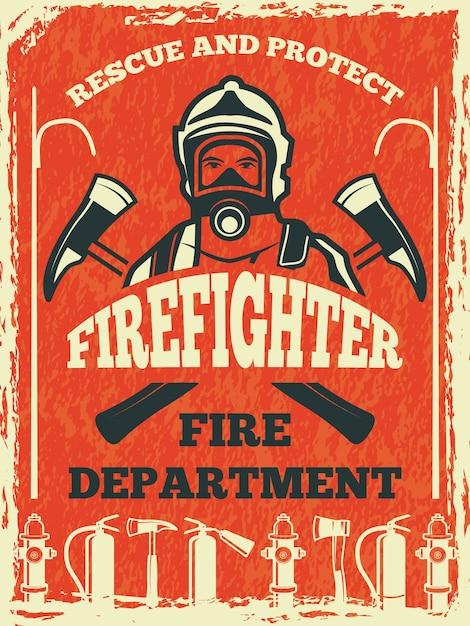 Cartaz para o departamento de bombeiros. modelo em estilo retro. cartaz do corpo de bombeiros e banner com o lutador. ilustração Vetor Premium