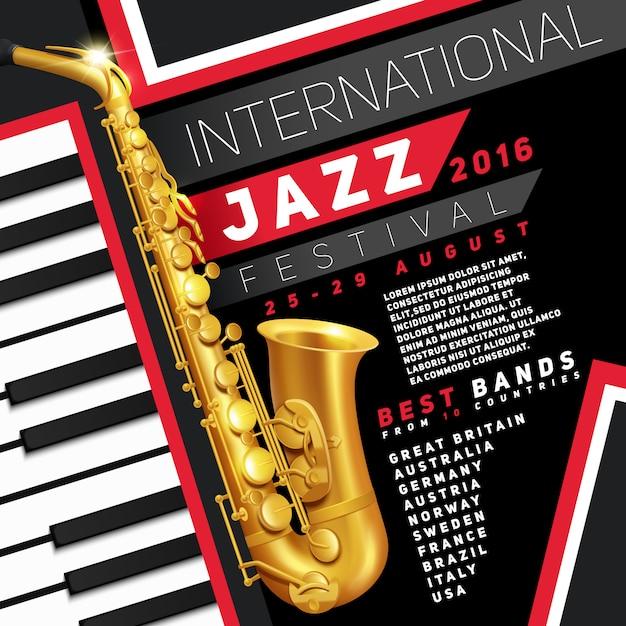 Cartaz para o festival de jazz com saxofone dourado e teclas de piano Vetor grátis