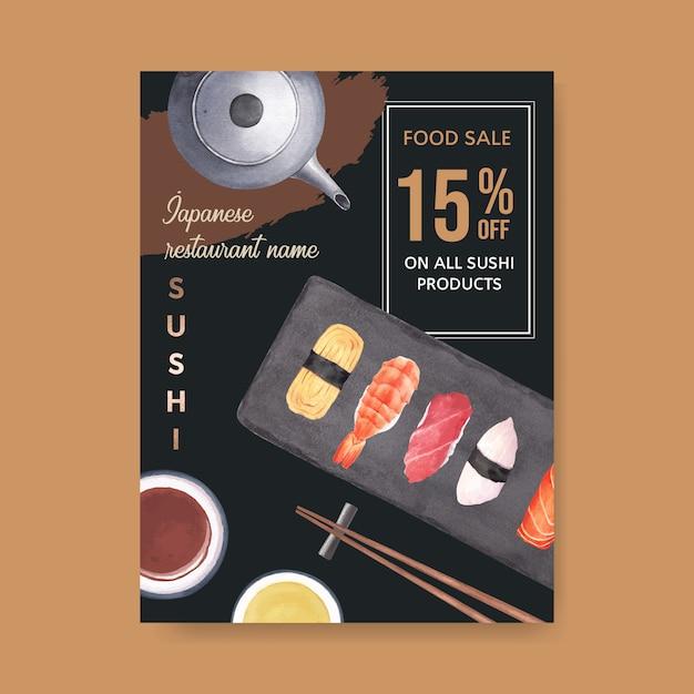 Cartaz para o restaurante de sushi Vetor grátis