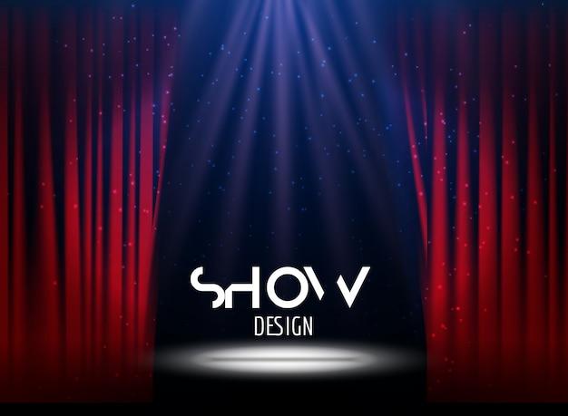 Cartaz para o show com cortina e palco Vetor Premium