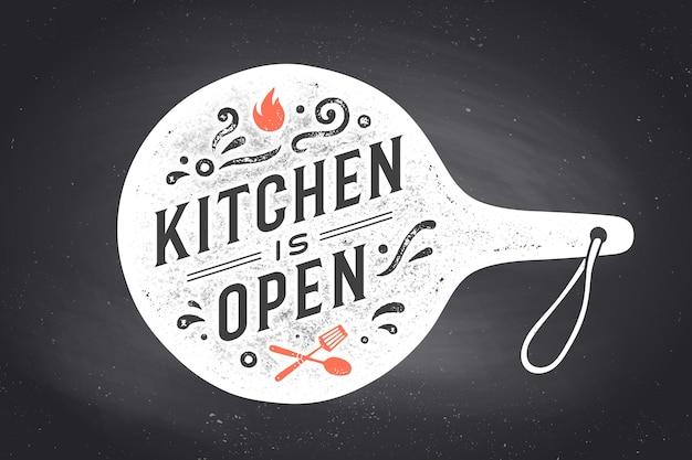 Cartaz para projeto de cozinha com tábua de cortar Vetor Premium