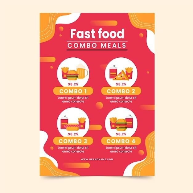 Cartaz para refeições combinadas Vetor grátis