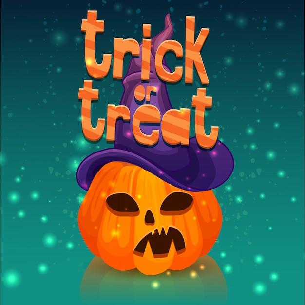 Cartaz para um feliz dia das bruxas com uma cabeça de abóbora em um chapéu de bruxa. Vetor Premium