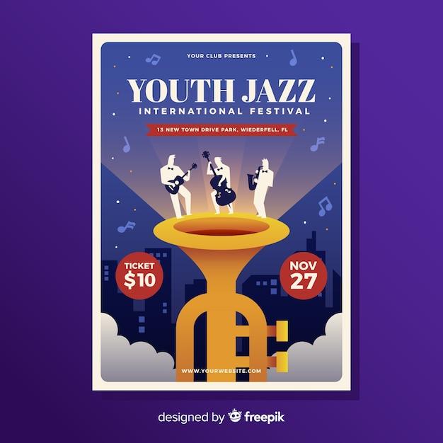 Cartaz plana de festival de música de jazz Vetor grátis