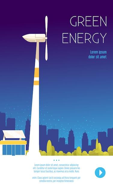 Cartaz plano de energia verde ilustrado forma de engenharia de energia alternativa, assim como ilustração vertical de energia eólica Vetor grátis