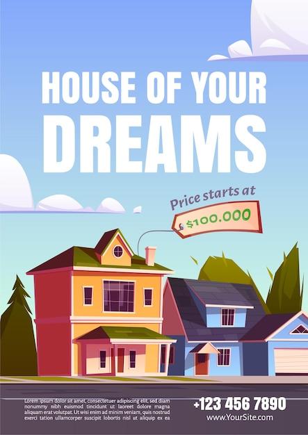 Cartaz promocional da casa dos seus sonhos para vender imóveis nos subúrbios Vetor grátis