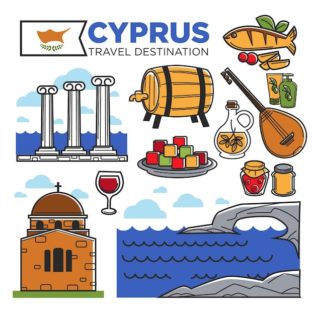 Cartaz promocional de destino de viagem de chipre com símbolos nacionais Vetor Premium