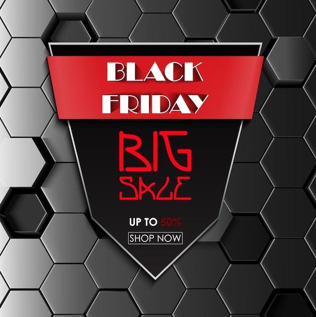 Cartaz promocional de venda sexta-feira negra Vetor Premium