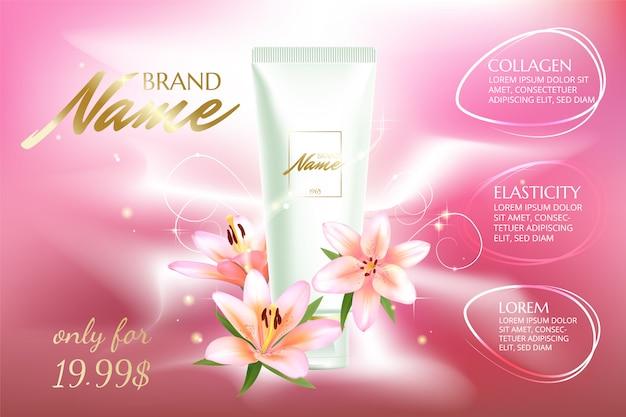 Cartaz publicitário para produto cosmético com flores para catálogo, revista Vetor Premium