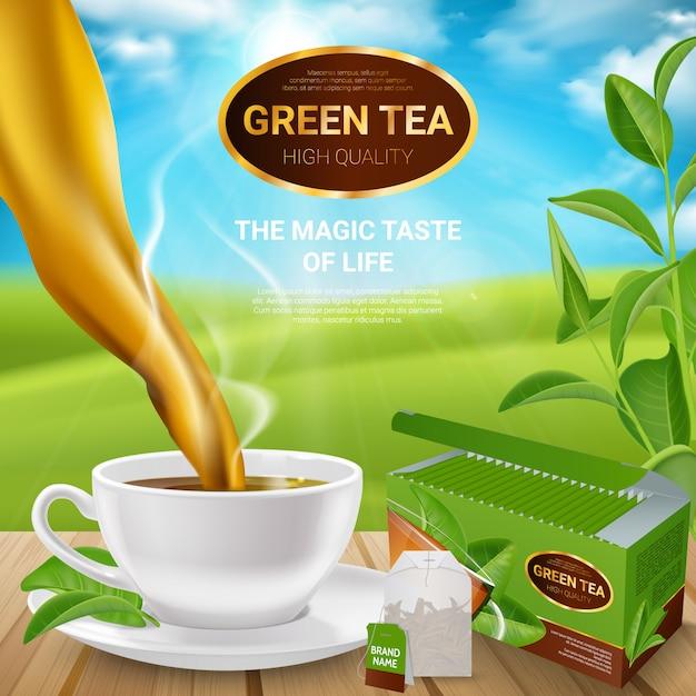 Cartaz realista das folhas de chá Vetor grátis