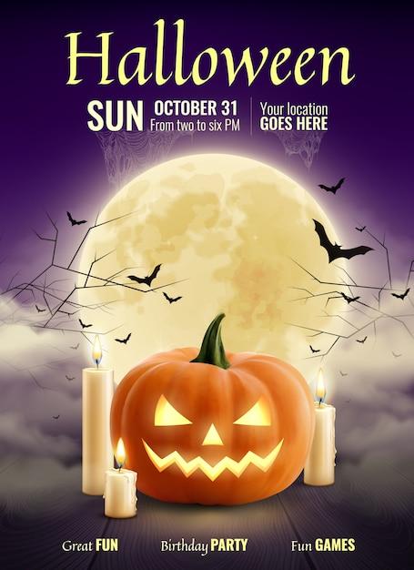 Cartaz realista de festa de halloween Vetor grátis