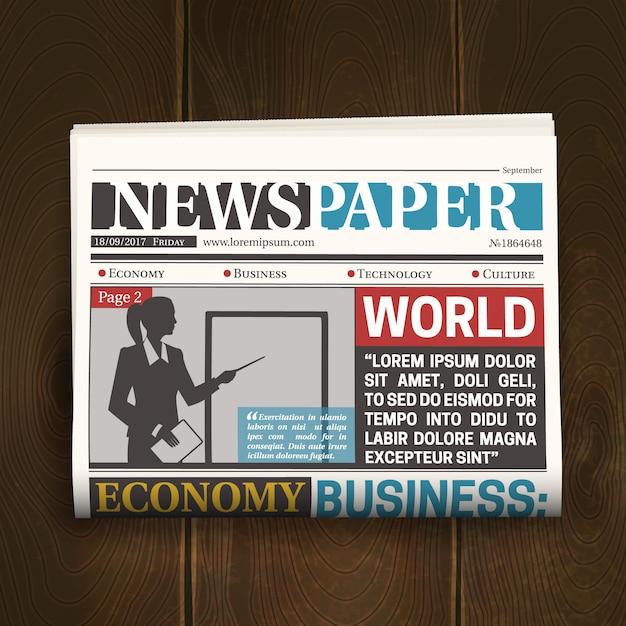 Cartaz realista de jornal de primeira página Vetor grátis
