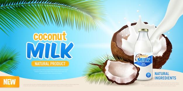 Cartaz realista de leite de coco com publicidade de produto natural verde folhas de palmeira rachada coco e leite vegan não lácteos na ilustração de garrafa Vetor grátis