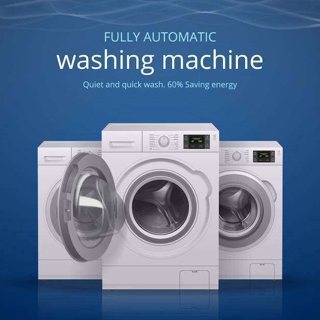 Cartaz realista de máquina de lavar roupa com ilustração de símbolos de lavagem silenciosa e rápida Vetor grátis