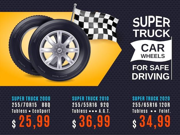 Cartaz realista do anúncio das rodas de carro Vetor grátis