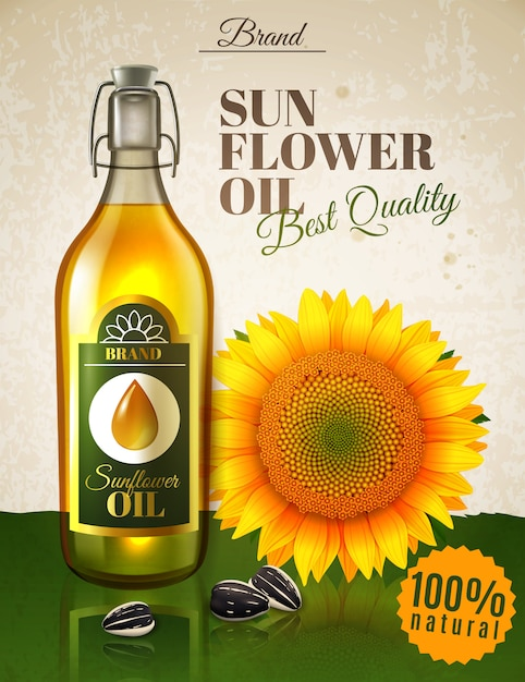 Cartaz realístico do anúncio do óleo de girassol Vetor grátis