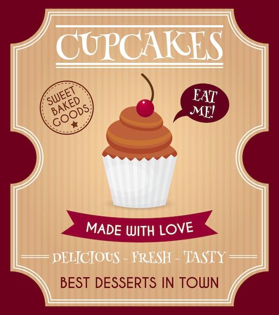 Cartaz retrô de cupcake Vetor Premium
