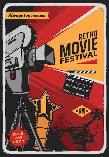 Cartaz retro do festival de cinema com câmera de vídeo Vetor Premium