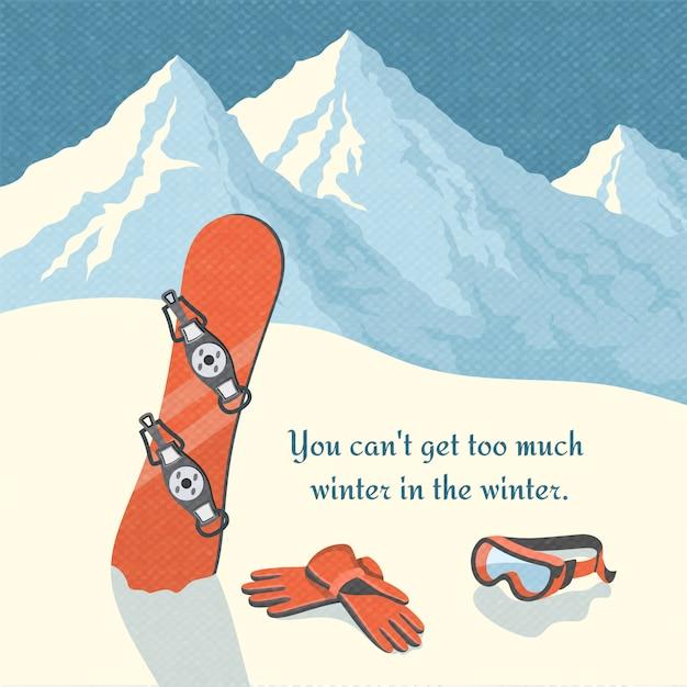 Cartaz retro do fundo da paisagem da montanha do inverno do snowboard Vetor grátis