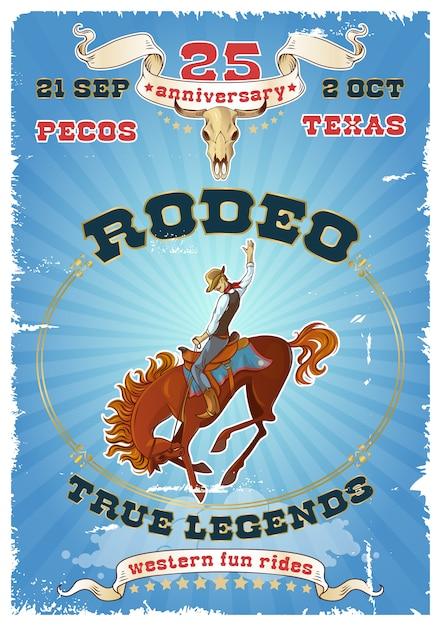 Cartaz retro do rodeio Vetor grátis