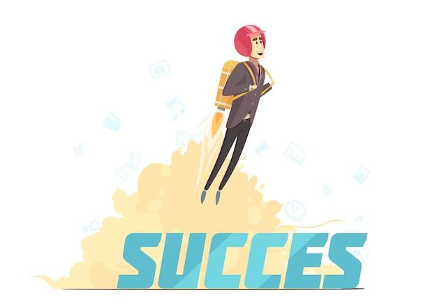 Cartaz simbólico de sucesso de inicialização de negócios Vetor grátis