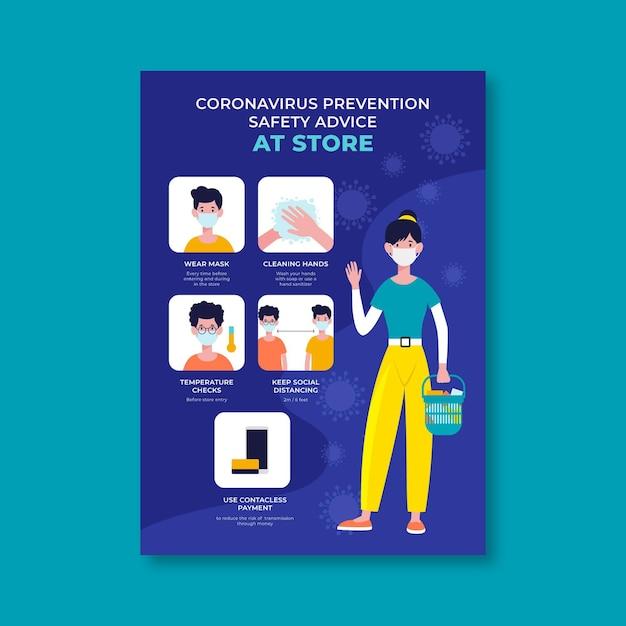 Cartaz sobre prevenção de coronavírus para lojas Vetor Premium