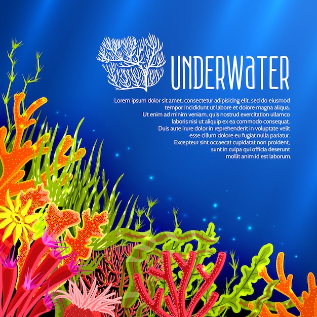 Cartaz subaquático dos corais Vetor grátis