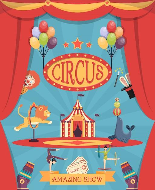 Cartaz surpreendente da mostra do circo Vetor grátis