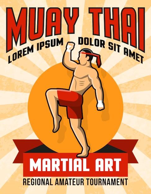 Cartaz tailandês da arte marcial de muay Vetor grátis