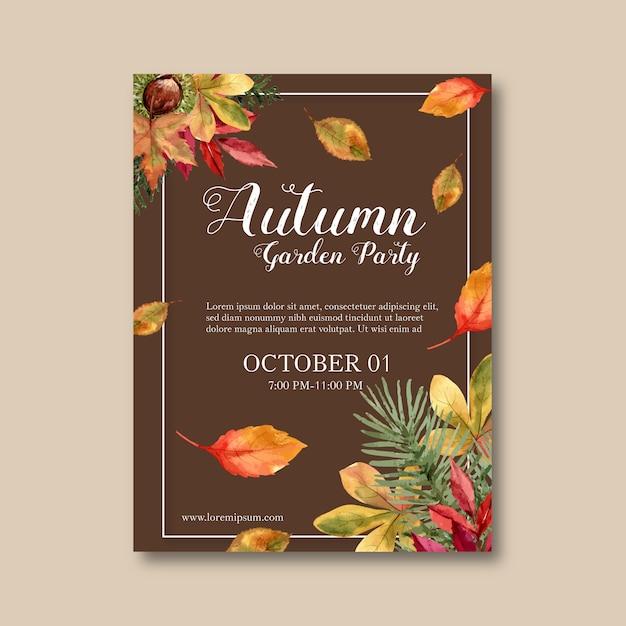 Cartaz temático de outono com plantas Vetor grátis