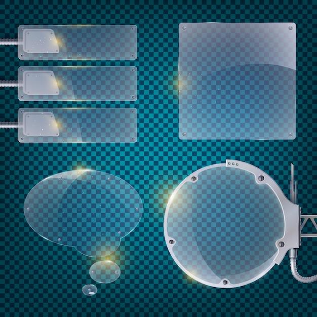 Cartaz transparente de negócios abstratos com campo composto por pequenos quadrados azuis, latas de vidro e ilustração de equipamentos Vetor grátis