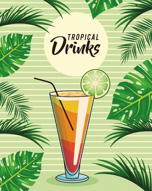 Cartaz tropical da bebida do cocktail Vetor Premium