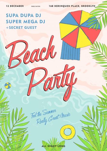 Cartaz tropical de festa na praia colorido. evento de verão, vetor festival cartaz de ilustração. Vetor Premium