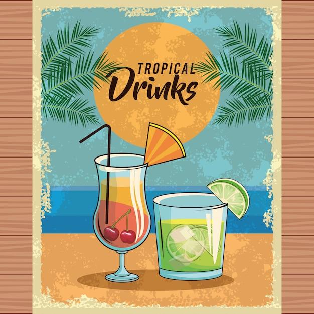 Cartaz tropical do cocktail Vetor Premium