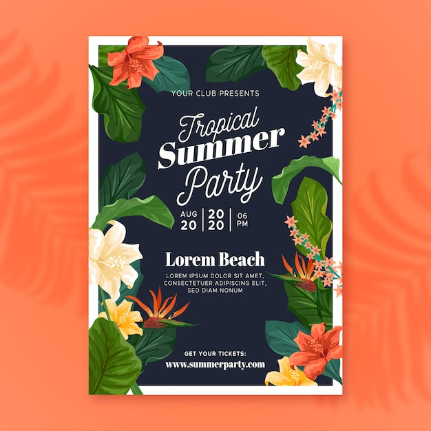 Cartaz tropical do partido do verão Vetor grátis