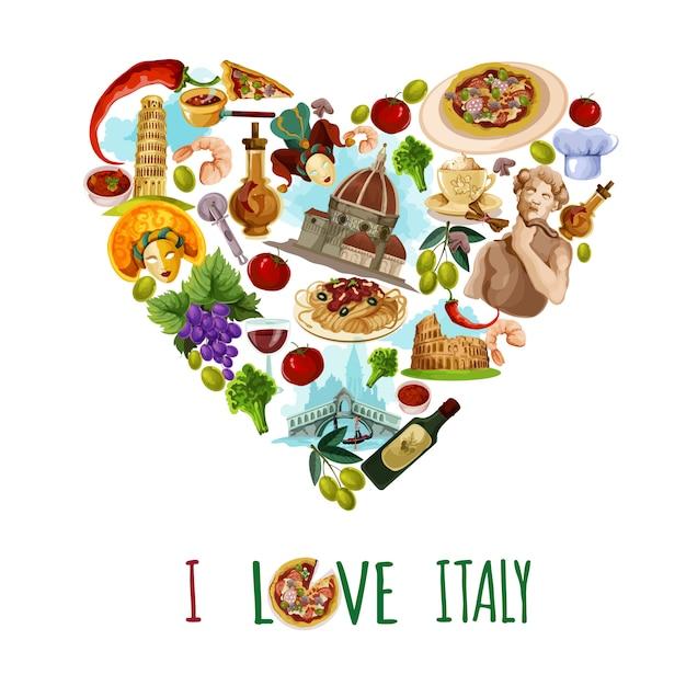 Cartaz turístico de itália Vetor grátis