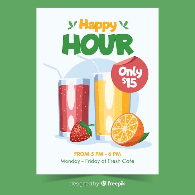 Cartaz verde happy hour com bebidas Vetor grátis