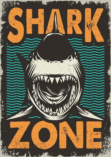 Cartaz vintage tubarão Vetor grátis