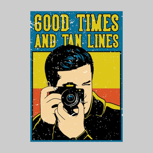 Cartazes ao ar livre: bons momentos e linhas de bronzeado ilustração vintage Vetor Premium