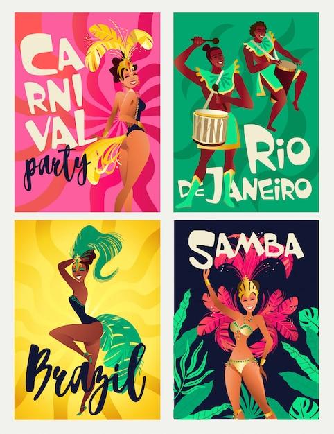 Cartazes brasileiros de samba Vetor Premium