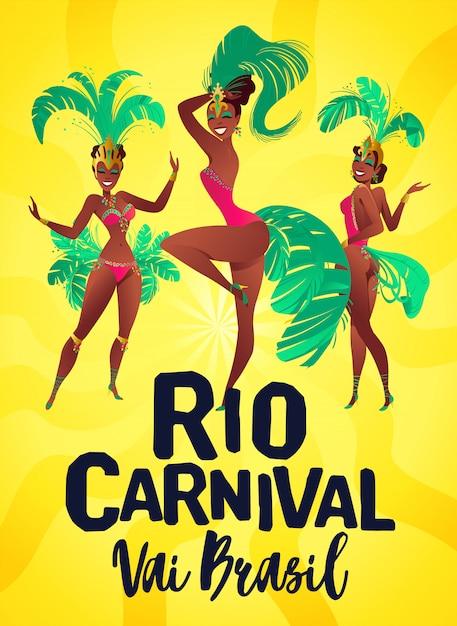 Cartazes brasileiros de samba. Vetor Premium