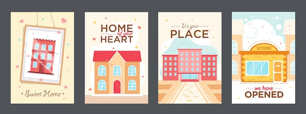 Cartazes coloridos com ilustração vetorial de casas. elementos gráficos vívidos com hotel, universidade e loja. conceito de edifícios e arquitetura Vetor grátis