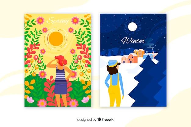 Cartazes coloridos de inverno e primavera Vetor grátis