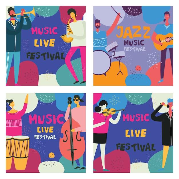 Cartazes coloridos do festival de música em design plano com músicos tocando instrumentos musicais Vetor Premium